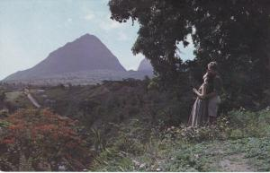 Couple Enjoying the View, Tropical Valley, Piton, SAINT LUCIA, 40-60's