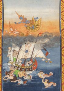 Rescue Of Prince Janaka Mahanjakata Thailand Manuscript Postcard