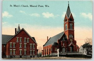 Mineral Point Wisconsin~St Mary's Catholic Church~Big House~Angel Statue~1915