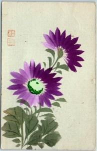 Vintage Japanese Postcard Hand-Painted Handmade Purple Flowers w/ Cancel & Stamp