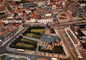 Belgium Blankenberge Panorama and St Antonius Church Cars Air view Postcard