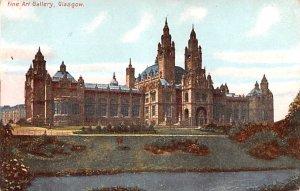Scotland, UK Old Vintage Antique Post Card Fine Art Gallery Glasgow Unused