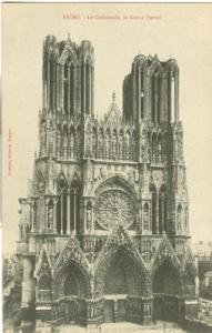 France, Reims, La Cathedrale, le Grand Portail, early 190...