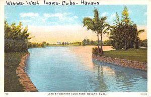 Lake at Country Club Park Havana Cuba, Republica de Cuba Unused