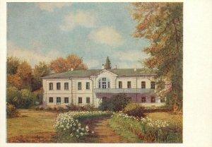 Russia art postcard c.1953 house manor painting
