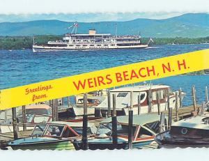 Unused Pre-1980 TWO VIEWS ON CARD Weirs Beach New Hampshire NH ho7363