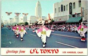 1960s Los Angeles, California Postcard Greetings from LI'L TOKYO Parade Scene