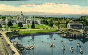 Victoria, BC ~ Parliament Buildings & CPR Building ~ c1944 Postcard