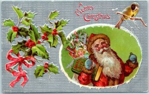 Vintage Christmas Postcard SANTA CLAUS Red Suit Bag of Toys Holly Leaves 1909