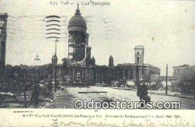 City Hall, Earthquake & Fire April 18, 1906 San Francisco, CA, USA Postcard P...