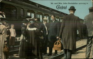 Cleveland OH Mr. Mrs. John Rockefeller Arrive by Train 1912 Postcard