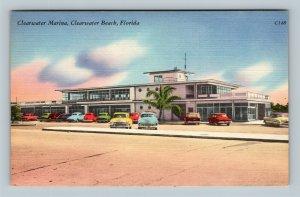 Clearwater Beach FL, Clearwater Marina, Linen Florida Postcard