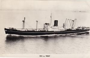 P&O Perim Cargo Ship Real Photo Vintage Postcard