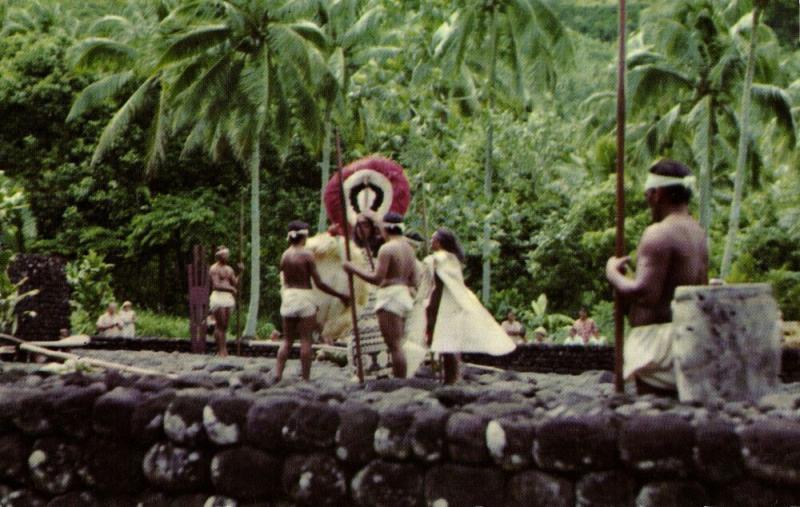 french polynesia, TAHITI, Paea, Marae Arahurahu, Historical Scene (1960s) II
