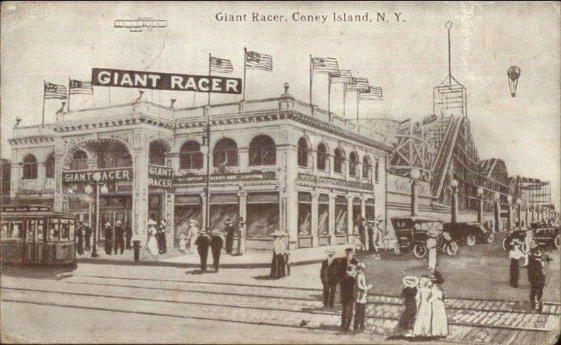 Coney Island NY Giant Racer Roller Coaster c1910 Postcard