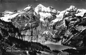 Switzerland Hotel Pension Oeschinensee Lake Mountain Landscape Postcard