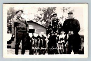RPPC Deer Horn Lodge, Quebec Canada, Fisherman Group c1954 Real Photo Postcard