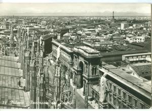 Italy, Milano, Panorama dal Duomo, 1951 used real photo Postcard