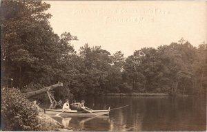 Cottage Grove, Boaters on Congamond Lake Southwick MA Vintage Postcard T22