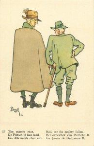 Comic WWII Postcard caricature artist signed Bizuth