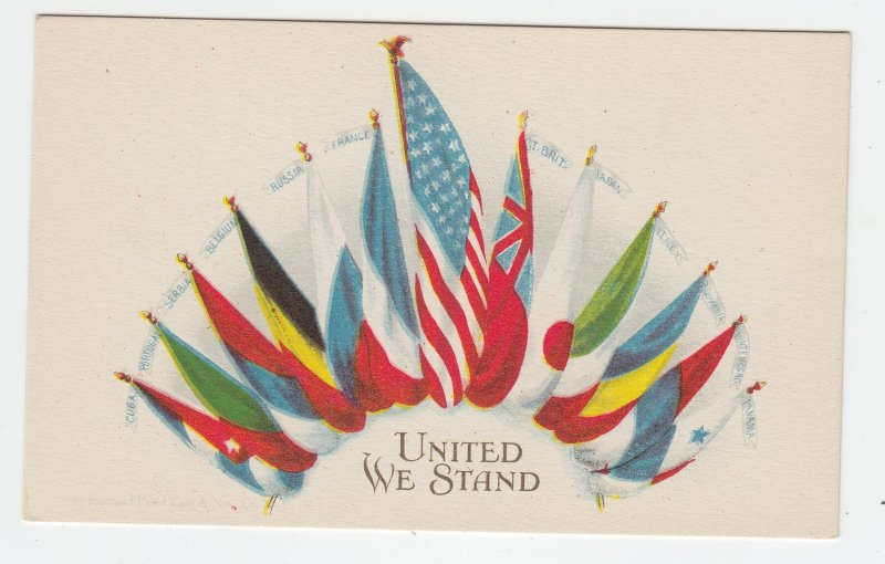 P2071 old postcard patriotic usa flag united we stand other flags of nations unu