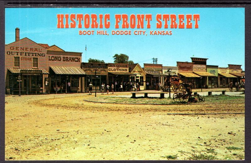 historic front street boot hill doge city ks bin hippostcard
