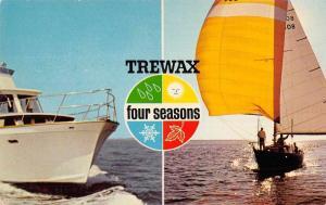 Trewax Four Seasons Boats Sailing Advertising Vintage Non Postcard Back J76336