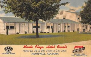 Huntsville Alabama Monte Plaza Hotel Courts Linen Antique Postcard J56046