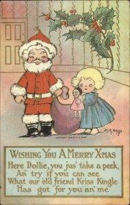 Christmas - Little Boy Dressed as Santa Claus MG Hays c1910 Postcard