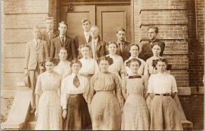 High School Photo Mechanicsburg Illinois Springfield Williams RPPC Postcard E52