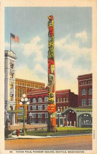 Native American Totem Pole PIONEER SQUARE Seattle, WA c1940s Vintage Postcard