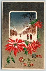 Victorian Christmas~Ladies Chat in Village~Snowy Street~Poinsettias~Max Feinberg