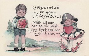 BIRTHDAY, 1900-1910's; Greetings On Your Birthday!..., Boy Giving A Girl A ...