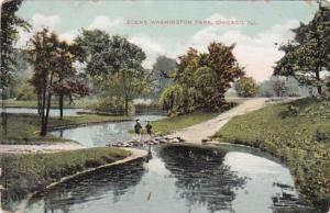 Illinois Chicago Scene In Washington Park 1908