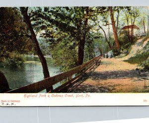 Pennsylvania York View Of Highland Park and Codorus Creek 1907