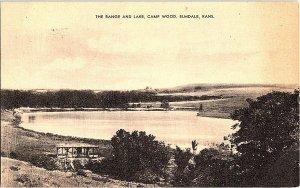 The Range and Lake Camp Wood Elmdale Kansas Vintage Postcard Standard View Card