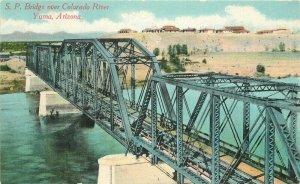 C-1910 SP Bridge Colorado River Yuma Arizona Newman Postcard 20-9042