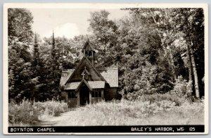 Baileys Harbor Wisconsin~Boynton Chapel in The Woods~Open Bell Tower~1959 RPPC