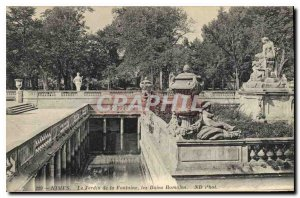 Postcard Old Nimes Garden Fountain the Roman Baths