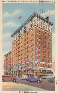 Washington DC Hotel Harrington 11th And E Street North West 1957