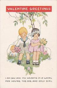 Valentine's Day Young Children Picking Flowers