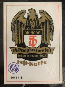 Mint Koln Germany Postcard cover German turnfest 1928