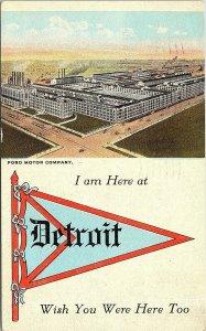 Postcard MI Detroit Fort Motor Company Pennant RARE 1938 L17