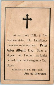 1908 COPENHAGEN Denmark Postcard PETER ADLER ALBERTI Scandal Politics Unused