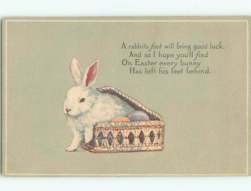 Pre-Linen easter BUNNY RABBIT COMES OUT OF ANTIQUE BOX W6831