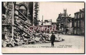 Chauny - The Church of Saint Martin and Place after the German retreat - Old ...