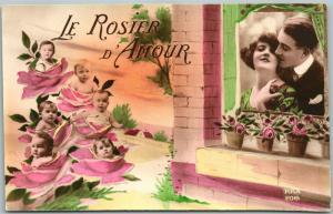 Multiple Babys & Romantische Liebespaar Antik Postkarte