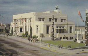 Exterior,  City Hall,  Totems,  Prince George,  B.C.,  Canada,  40-60s