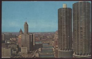 Marina City Chicago River Aerial Towers Skyscrapers Illinois Postcard