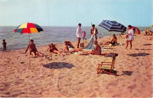 WHITEHALL MICHIGAN  LAKE BEACH ADJOINING WHITE LAKE POSTCARD 1961